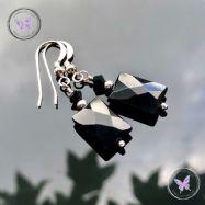 Black Onyx Facet Rectangle Earrings